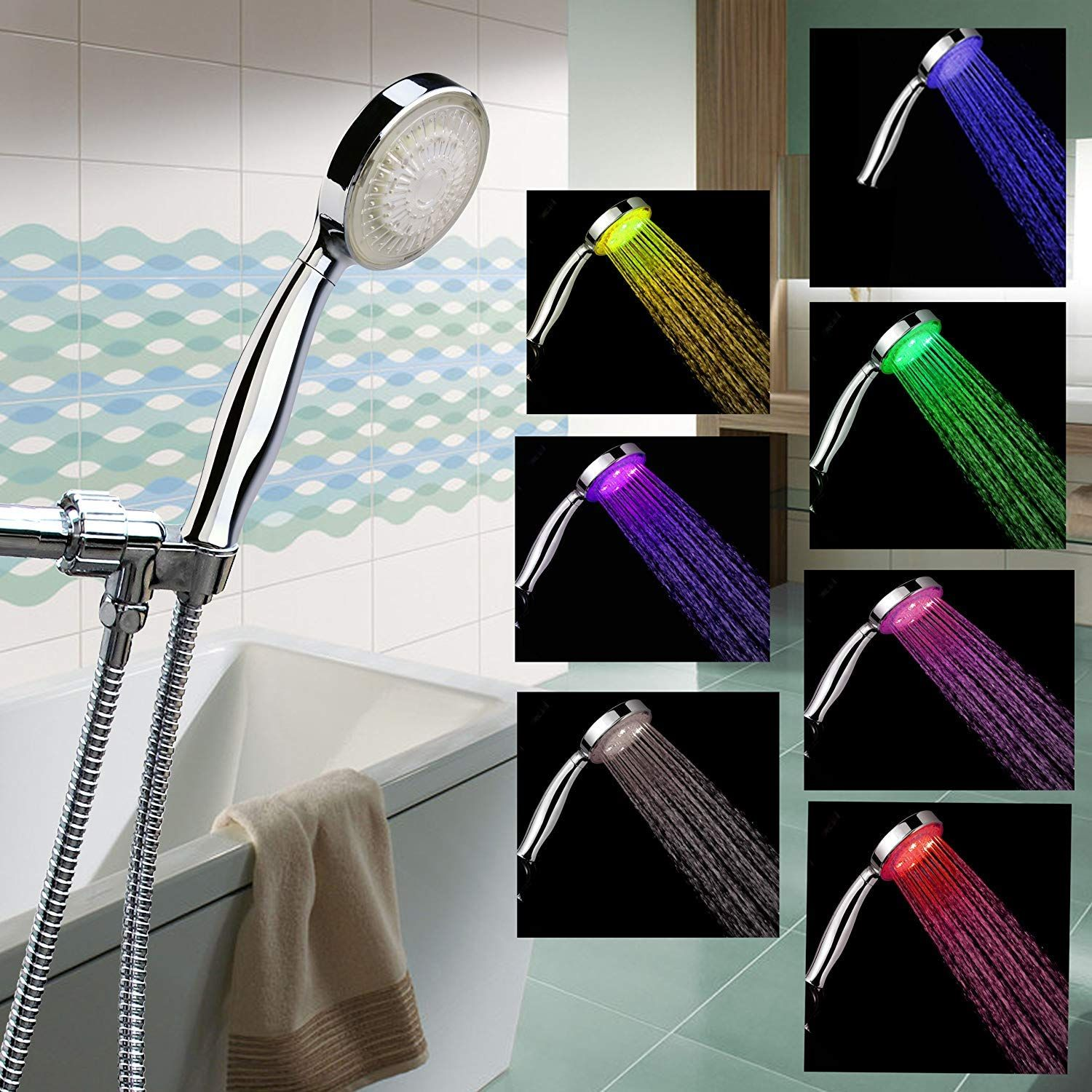 Awesome Color Changing Hand Held Shower Head With Stainless Steel Shower Hose And Can Be Fitted In Minutes Led Shower Head Shower Head Reviews Shower Heads