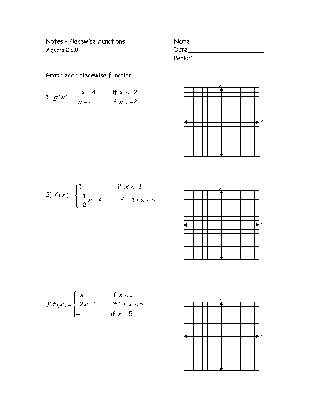 Introduction to Piecewise Functions – Piecewise Functions Worksheet with Answers