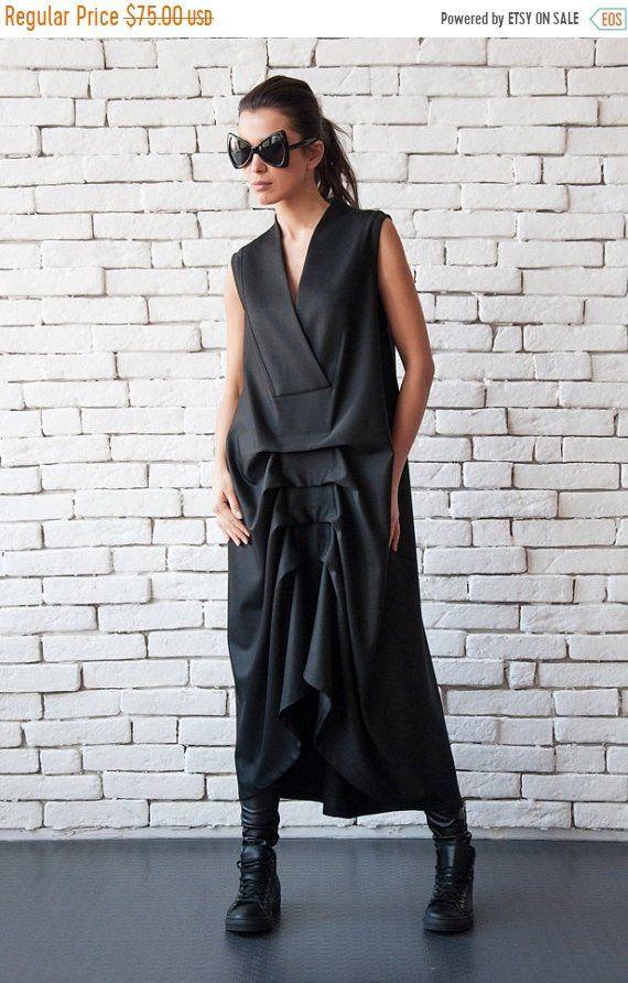 20 % Rabatt auf schwarz Maxi Kleid/asymmetrische ärmellose ...