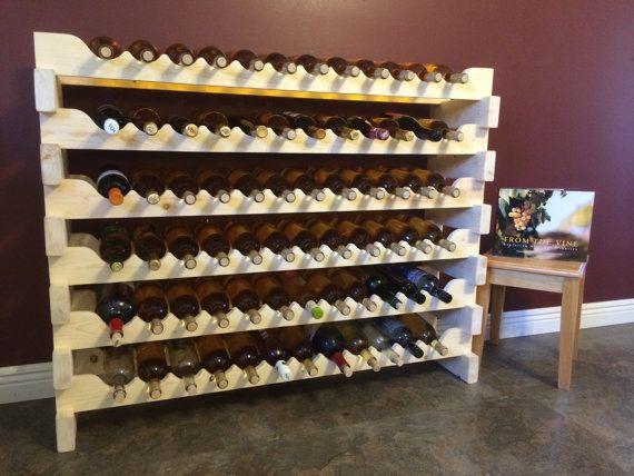 72 Bottle Wood Wine Rack Pine Modular Lockable Stacking Cellar Bottle Storage Bottle Rack Wood Wine Racks Wine Rack Wine Storage Wooden wine rack for sale