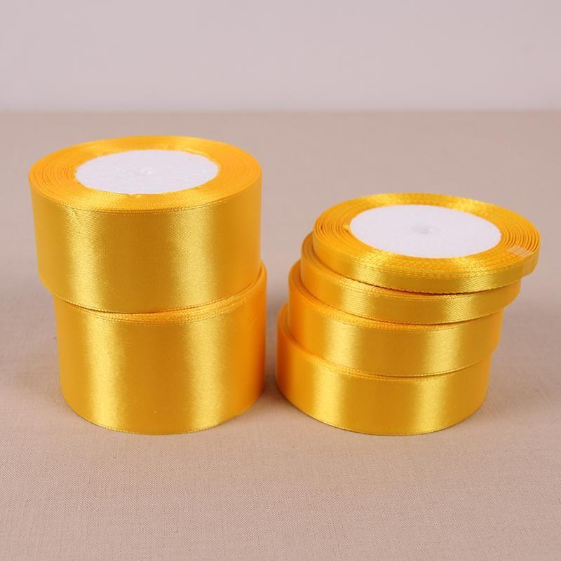 Satin Ribbons 25 Yards Gold Silk Wedding Decor Gift Wrapping Christmas Apparels
