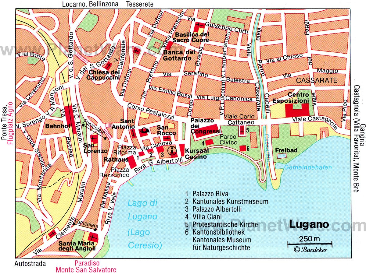 Map of Lugano Attractions PlanetWare Travel and Places