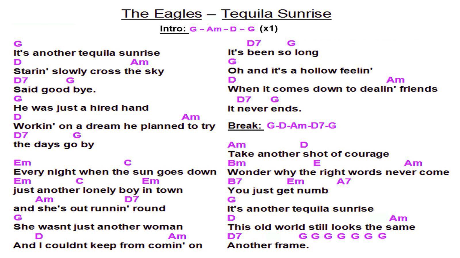 The Eagles   Tequila Sunrise WS   Lyrics and chords, Mandolin ...