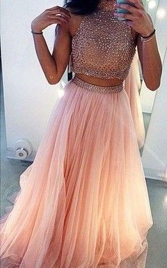 2 piece pink and gold homecoming dresses