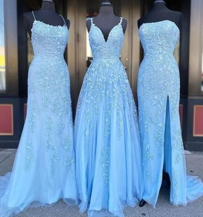 Charming Blue Tulle Long Prom Dress, Appliques Formal Evening Dress