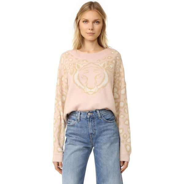 Wildfox Feline Sweater ($175) ❤ liked on Polyvore featuring tops, sweaters, wildfox tops, wildfox sweater, pink rose sweater, rose sweater and wildfox