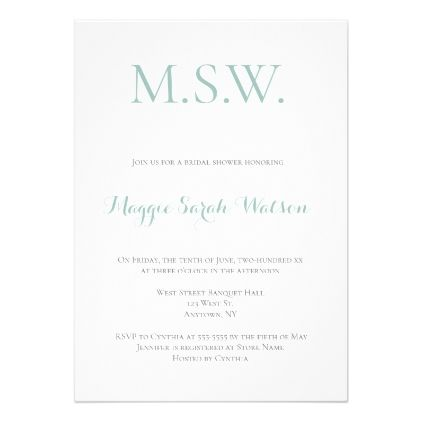 Mint green monogram bridal shower invitations monogram bridal mint green monogram bridal shower invitations monogram bridal showers shower invitations and bridal showers filmwisefo