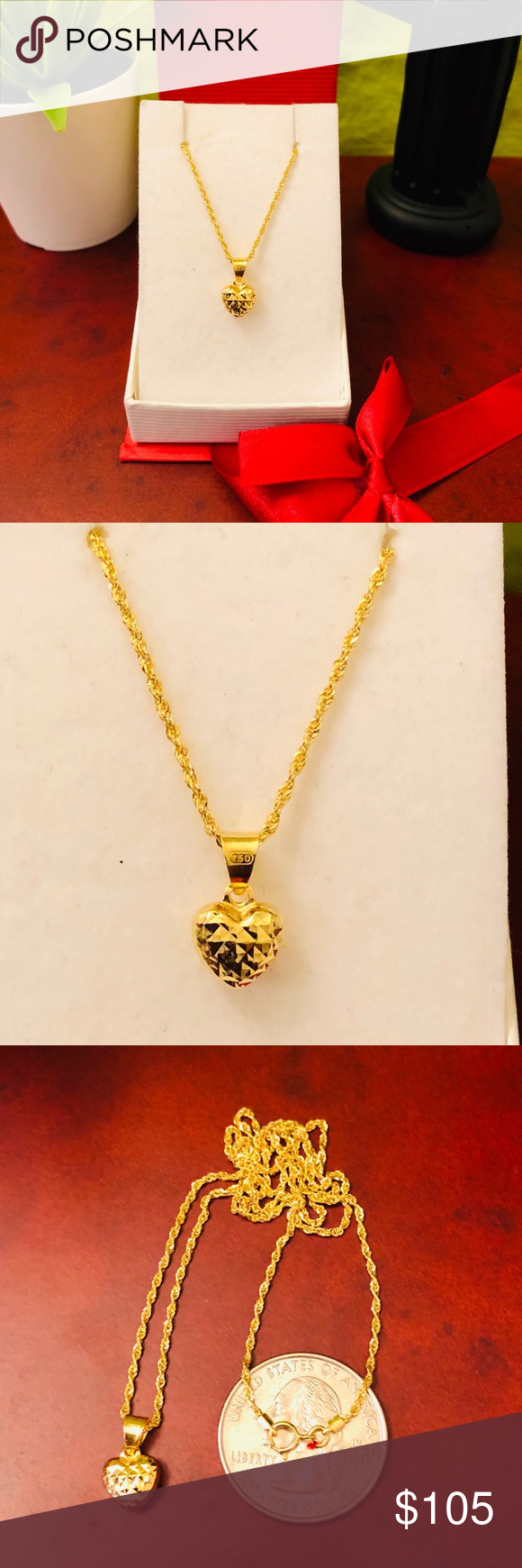 18k Real Saudi Gold Heart Pendant Necklace Price Is Firm Made Of 100 18k Real Gold Lightweight Dia Heart Pendant Gold Heart Pendant Necklace Necklace Price