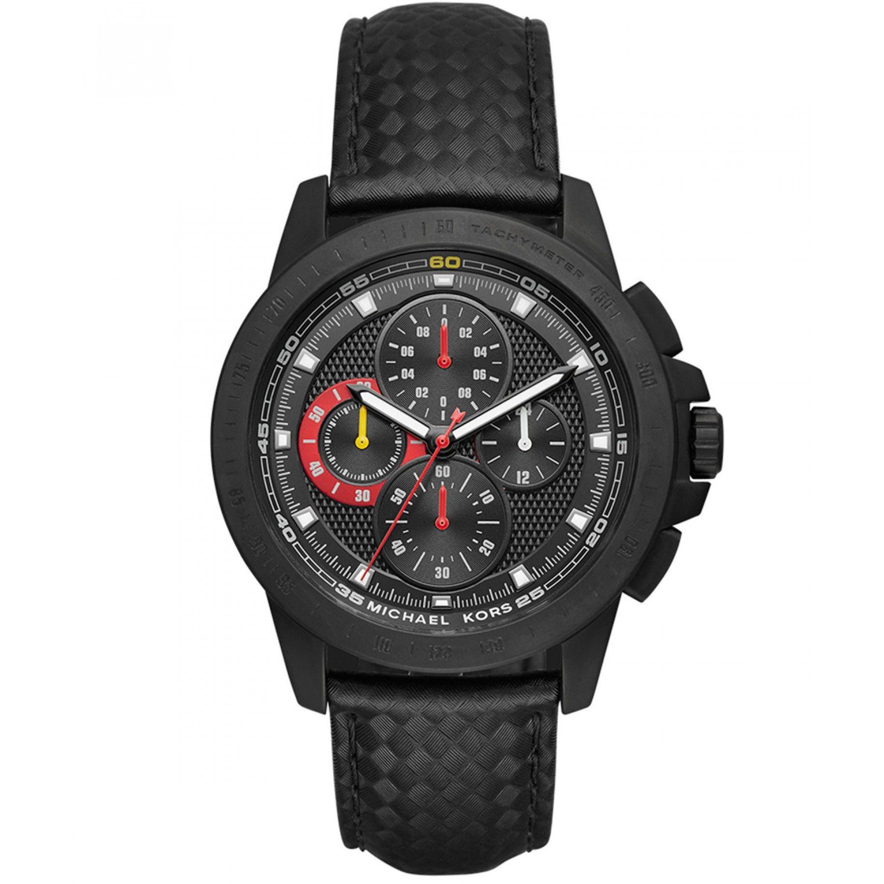 8636e2d704 Reloj Michael Kors con caja y bisel en acero extensible tipo correa en piel  color negro