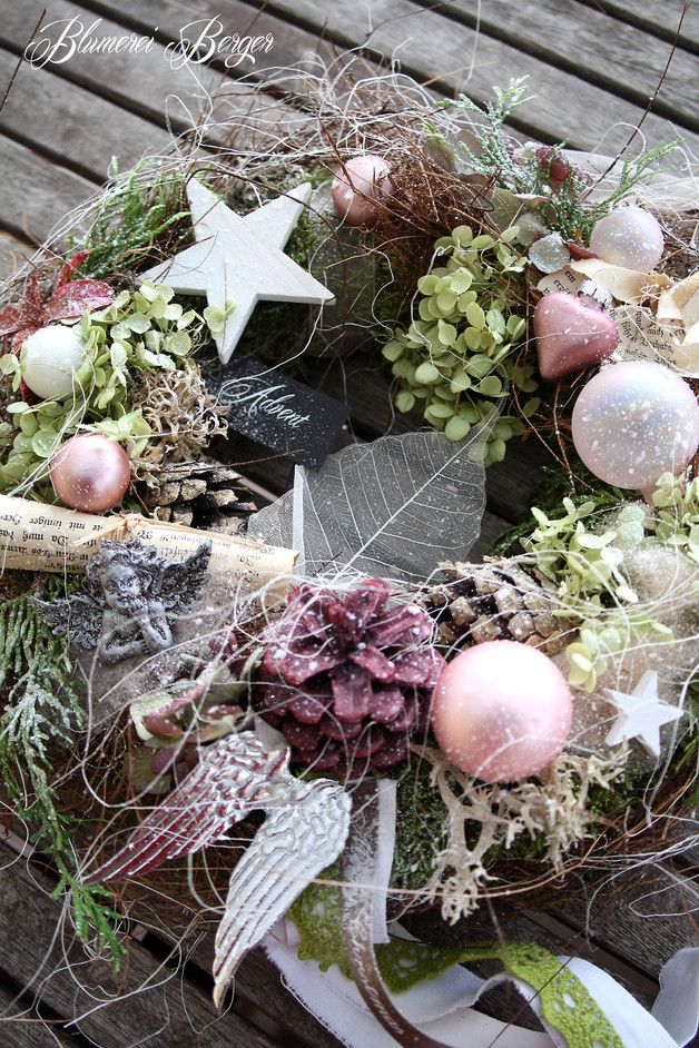"""Weihnachtsdeko - :::: Türkranz """" Shabby Weihnacht """" :::: - ein Designerstück von BlumereiBerger bei DaWanda"""
