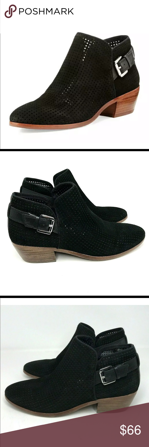 Sam Edelman BlackSuede Booties SZ 7 Cute Sam Edelman Black Suede Booties in Size 7  •Style: Paula Chelsea  •1 3/4 inch stacked heel | 3 1/2 inch shaft • Slip On •Adjustable Strap With Buckle Closure •Perforated Leather Leather Upper, Synthetic Lining & Sole  kcc0423-03102019 Sam Edelman Shoes Ankle Boots & Booties