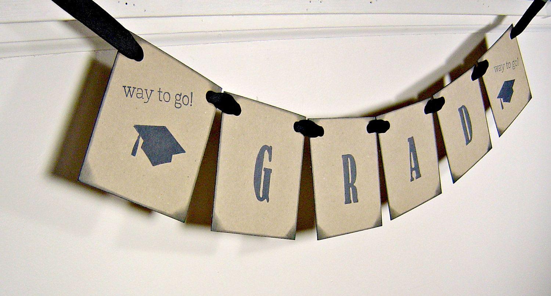 Graduation banner grad garland cap and tassel by suzyssentiments