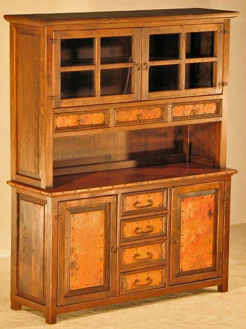 Handcrafted From Reclaimed Wood And Copper This Rustic Buffet Hutch Will Compliment Any Western Ranch Cabin Or Country Decor Custom Sizes Handmade