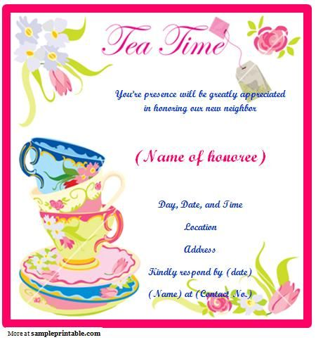 Printable tea party invitation activities pinterest for Morning tea invitation template free