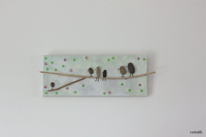 Tableau galets oiseaux bois flotté fond gris vert blanc famille ...