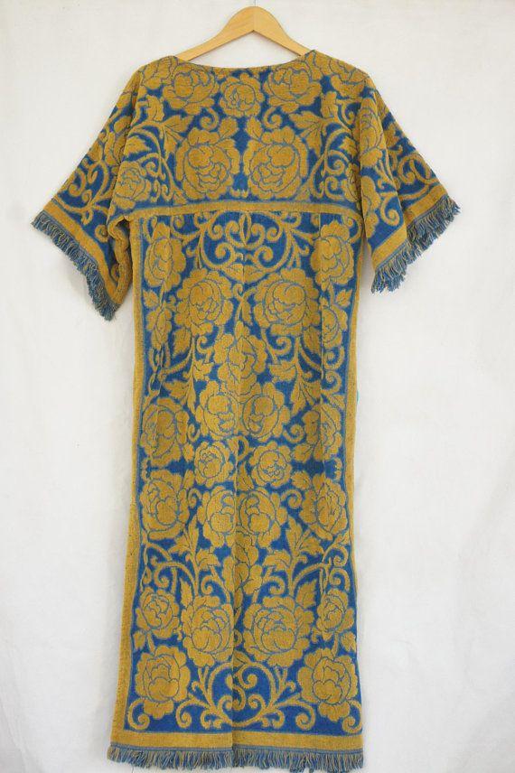 69b703a46c Vintage 60s-70s Terry Cloth Maxi dress Loungewear Beach Towel Dress Caftan Bohemian  Chic Hippie Retro Mid Century