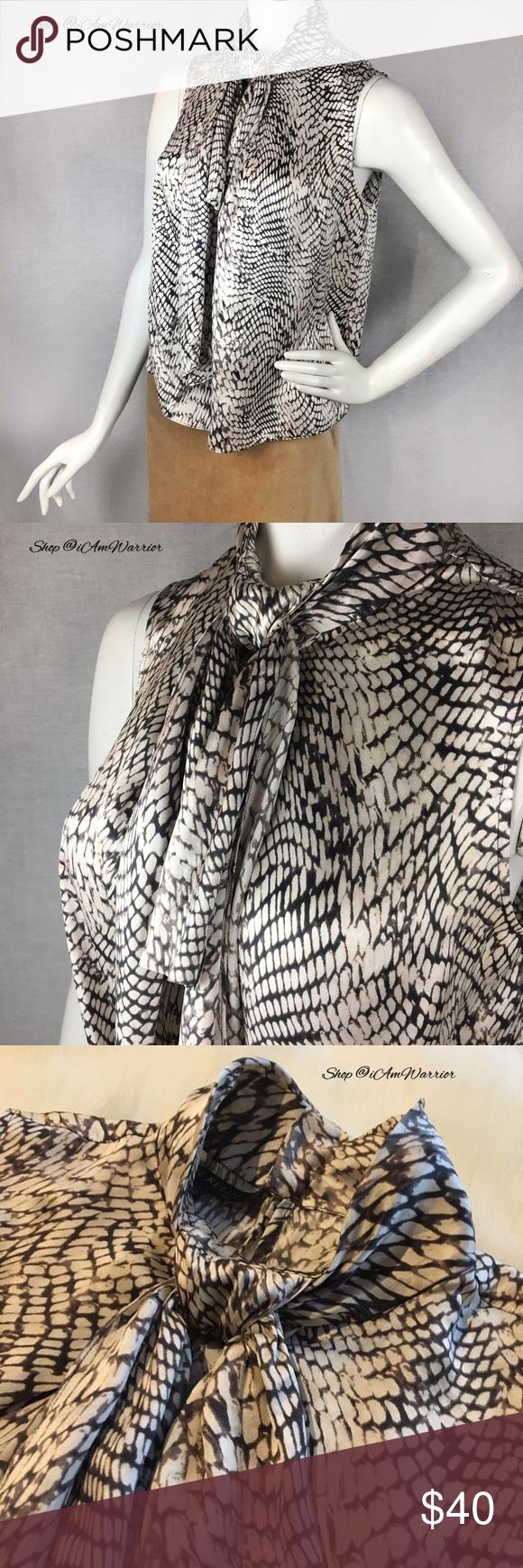 f0812062919ab Anne Klein silk snakeskin print tie neck blouse
