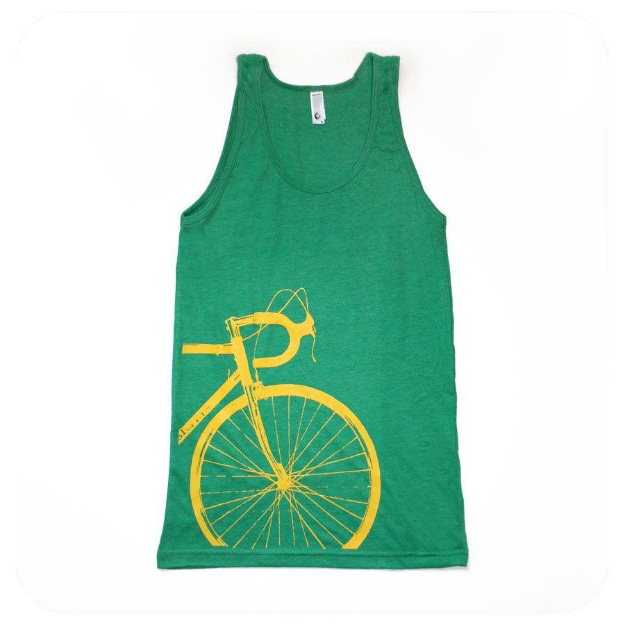 Bike Tank Top (Unisex Tank) Green with Yellow Road Bike Screenprint by Boomerang360 on Etsy
