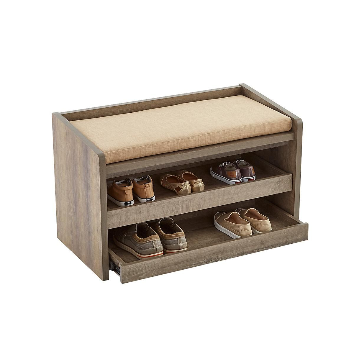 Rustic Driftwood Mercer Entryway Storage Bench Home