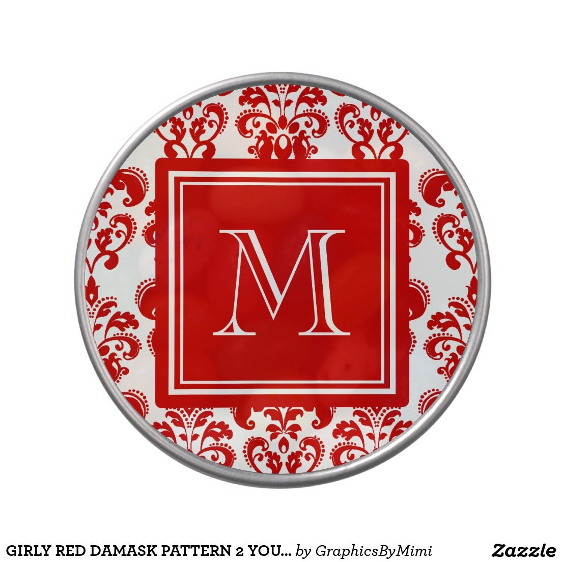 GIRLY RED DAMASK PATTERN 2 YOUR INITIAL CANDY TINS | Bridal Shower ...