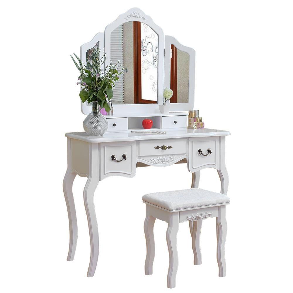 Ubesgoo Vanity Makeup Dressing Table Set W Stool 5 Drawers Tri Folding Mirror Jewelry Walmart Com Dressing Table With Stool Dresser With Mirror White Wood Vanity [ 1000 x 1000 Pixel ]