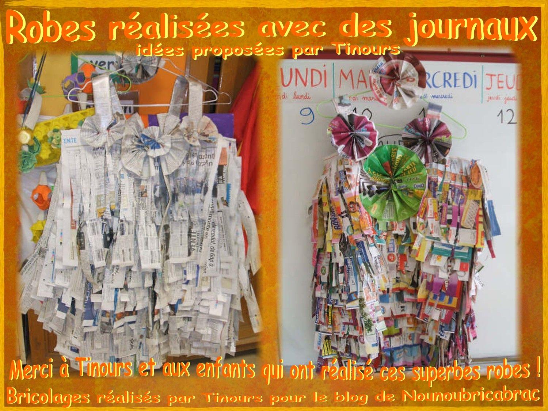 Robes r alis es avec des mati res de notre quotidien des journaux id es propos es par - Idees recyclage vetements ...
