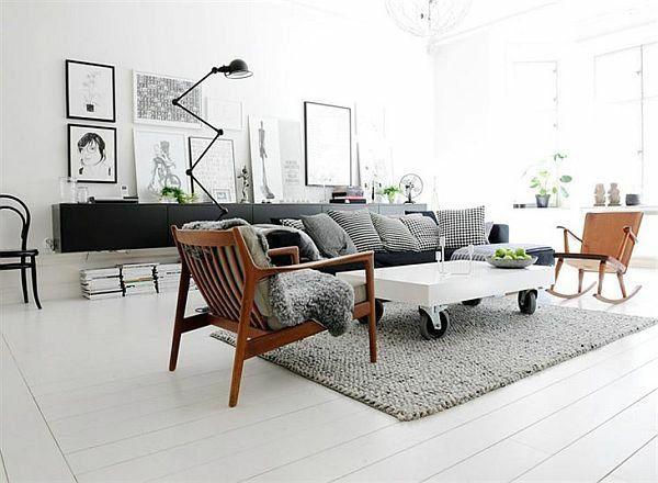 wohnzimmer skandinavisch einrichten couchtisch auf rollen