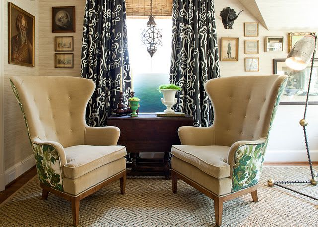 Love The Vignette By Lauren Liess  2 Matching Modern Wingback Chairs  Flanking A Drop Leaf