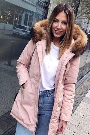 new styles 85c2f b3e58 Damen Pink lange Echtfell Winterjacke Winter Parka Jacke mit ...