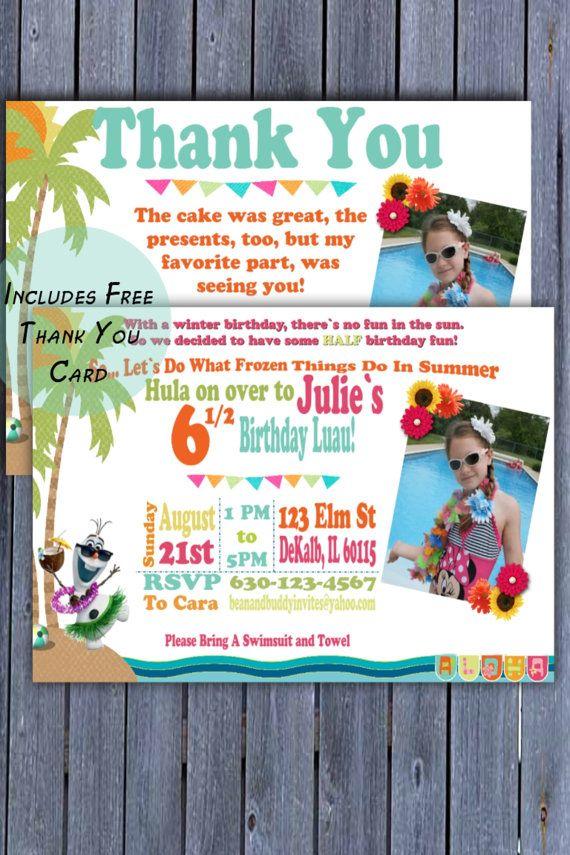 olaf frozen in summer half birthday invitation olaf luau birthday invite free thank you