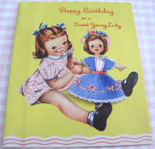 Used-Vintage-Greeting-Card-Cute-Girl-w-Paper-Doll-Dolly (SWEET YOUNG LADY 1)