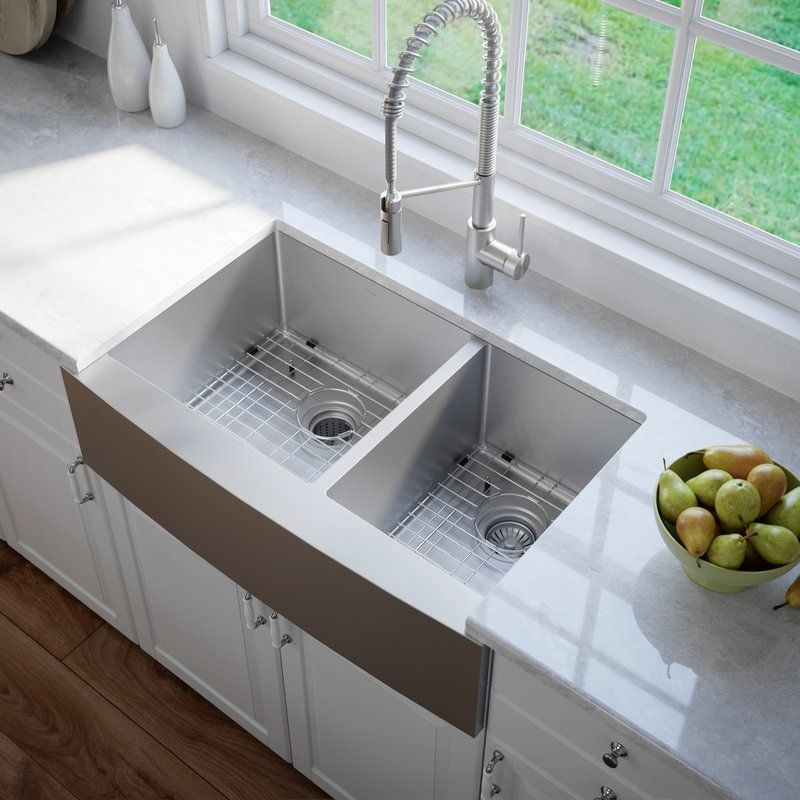 36 L X 21 W Double Basin Farmhouse Kitchen Sink With Basket