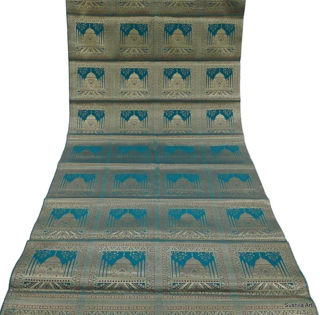 Indian art silk woven zari brocade curtain panel craft upholstery