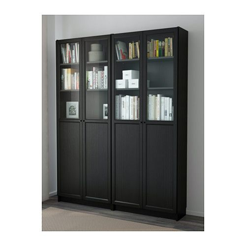 Boekenkast Billy Oxberg.Billy Oxberg Bookcase Black Brown Office