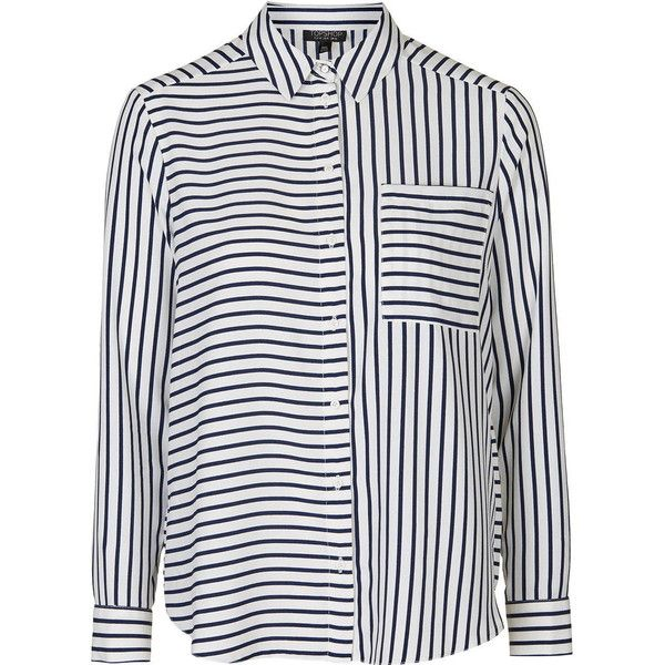 TopShop Tall Simple Mix Stripe Shirt ($50) ❤ liked on Polyvore featuring tops, shirts, navy blue, navy blue shirt, striped top, button down shirt, navy button down shirt and stripe shirt