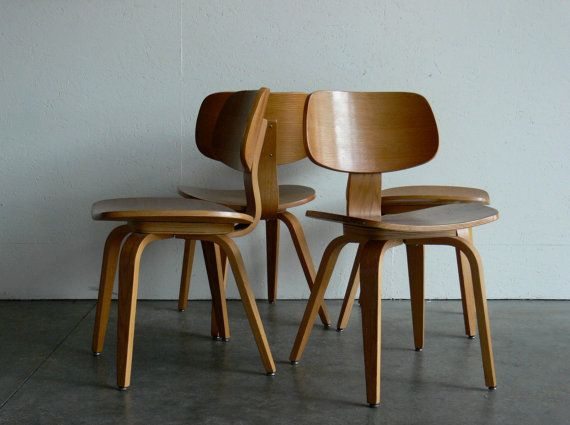 Vintage Mid Century Modern Thonet Plywood Chair Set Of 4 By CoMod, $449.00