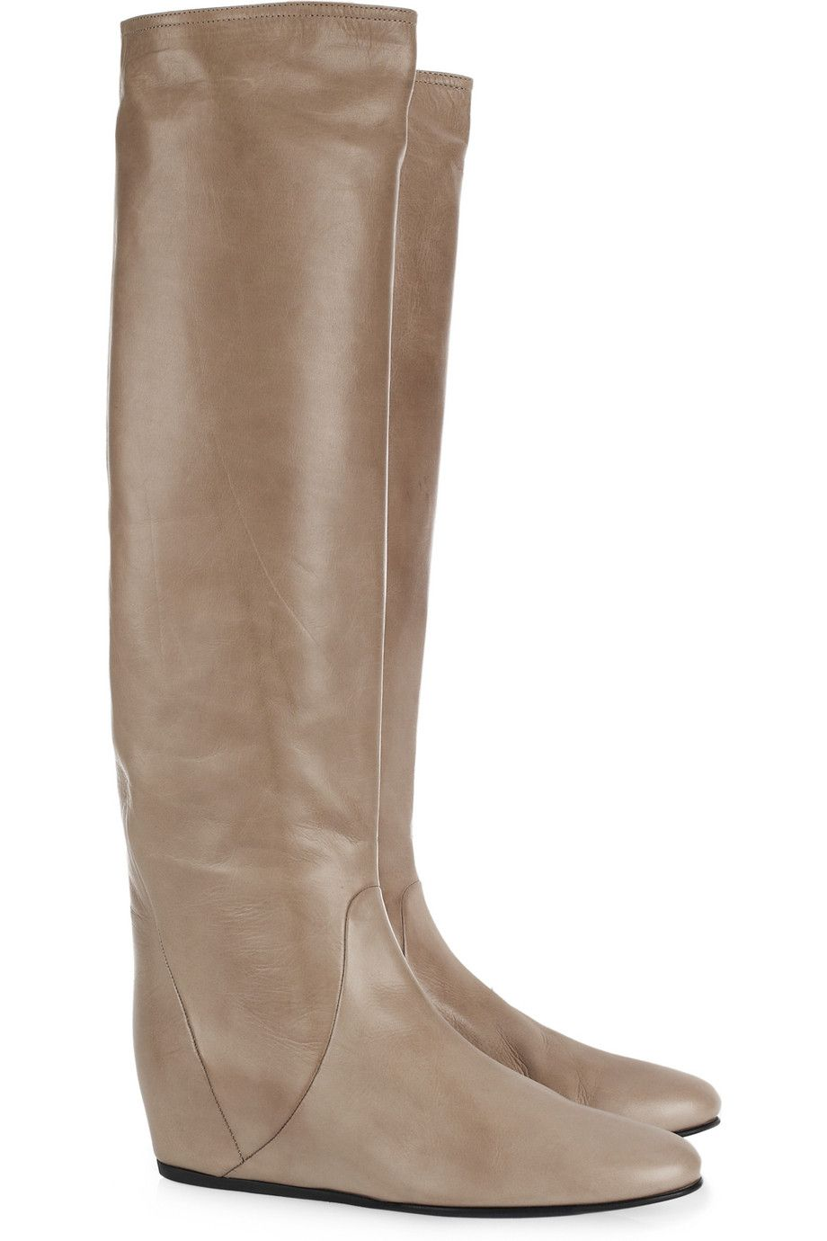 Concealed-wedge crinkled-leather knee boots by Lanvin