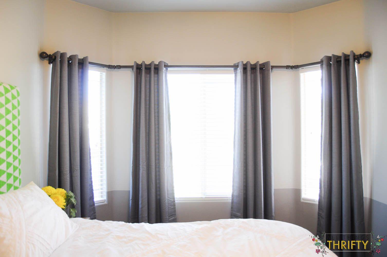 Window decor diy  diy bay window curtain rod  bay window curtain rod bay window