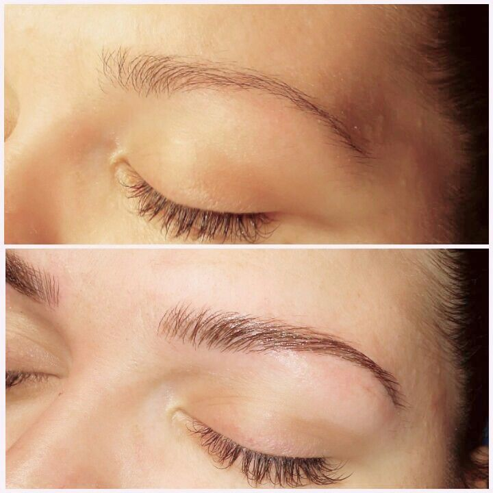 Before and after microblading with effortless esthetics