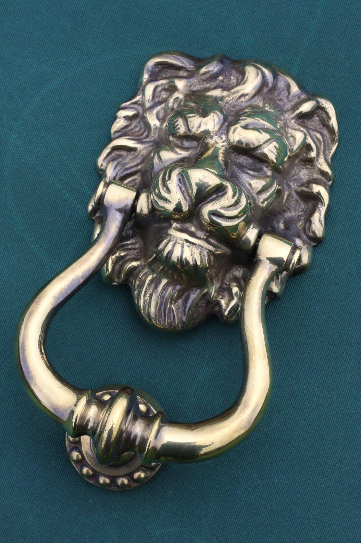 Antique brass front door knobs  Brass Door Knocker Lions Head  Priors iorsrec