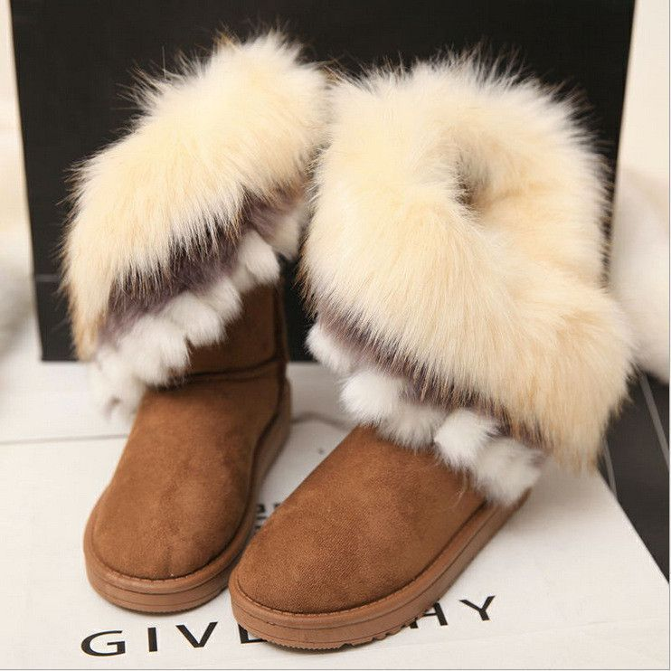 Fashion Girls Ankle Boots Kids Snow Boots Non-slip Suede Warm Fur Thick Shoes