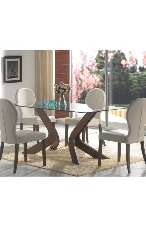 Coaster Company Tables San Vicente Glass Top Dining Table Walnut