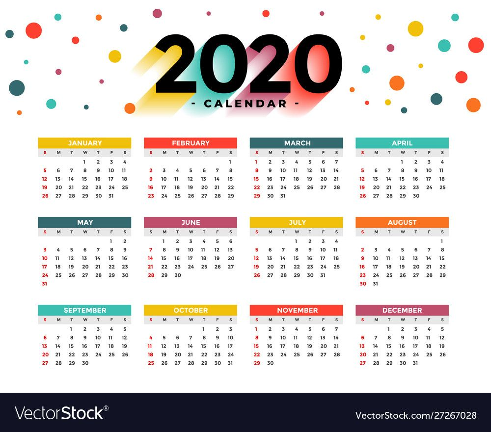2020 new year calendar abstract colorful circles Vector