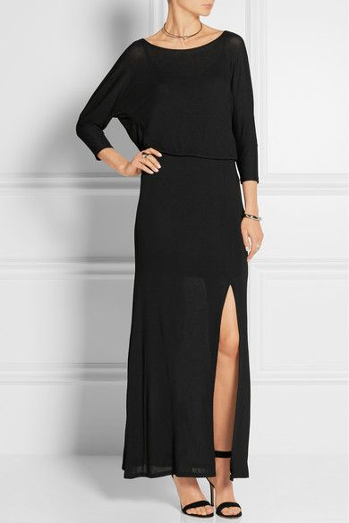 Splendid Woman Draped Stretch-jersey Maxi Dress Black Size XS Splendid vB3yB