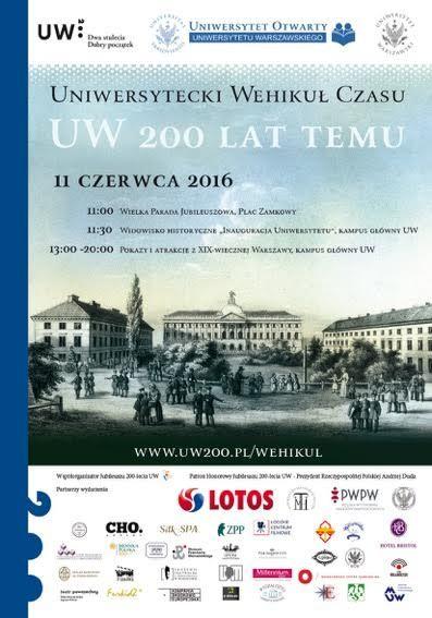 plakat wydarzenia, widoczny adres: www.uw200.pl/wehikul