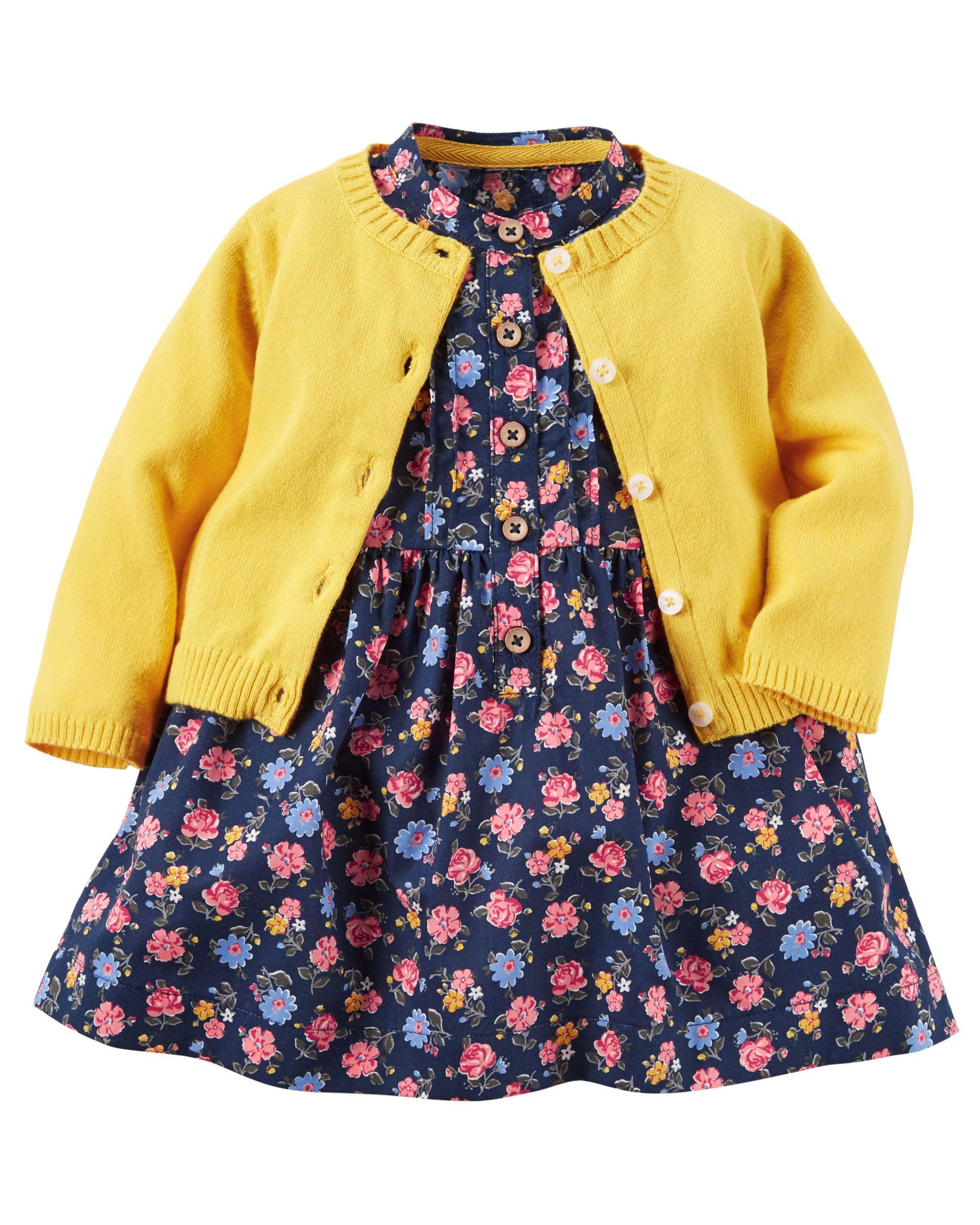 2 Piece Poplin Dress & Sweater Set
