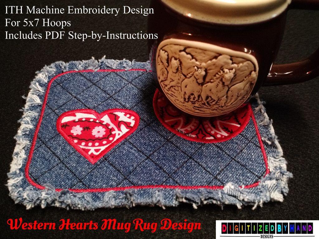 In the hoop mug rug design western hearts applique western style