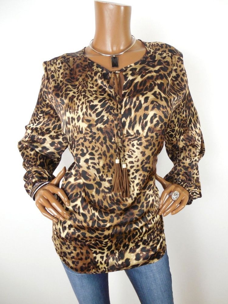 def4032a6f6c3c CHICO S Sz 3 Womens Top L XL BOHO Shirt Leopard Print Tassel Tie Front  Casual  Chicos  Blouse  Casual