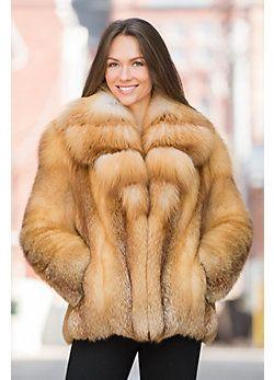 Camellia Red Fox Fur Jacket with Gold Fox Fur Collar | FUTRO SZEŚĆ ...