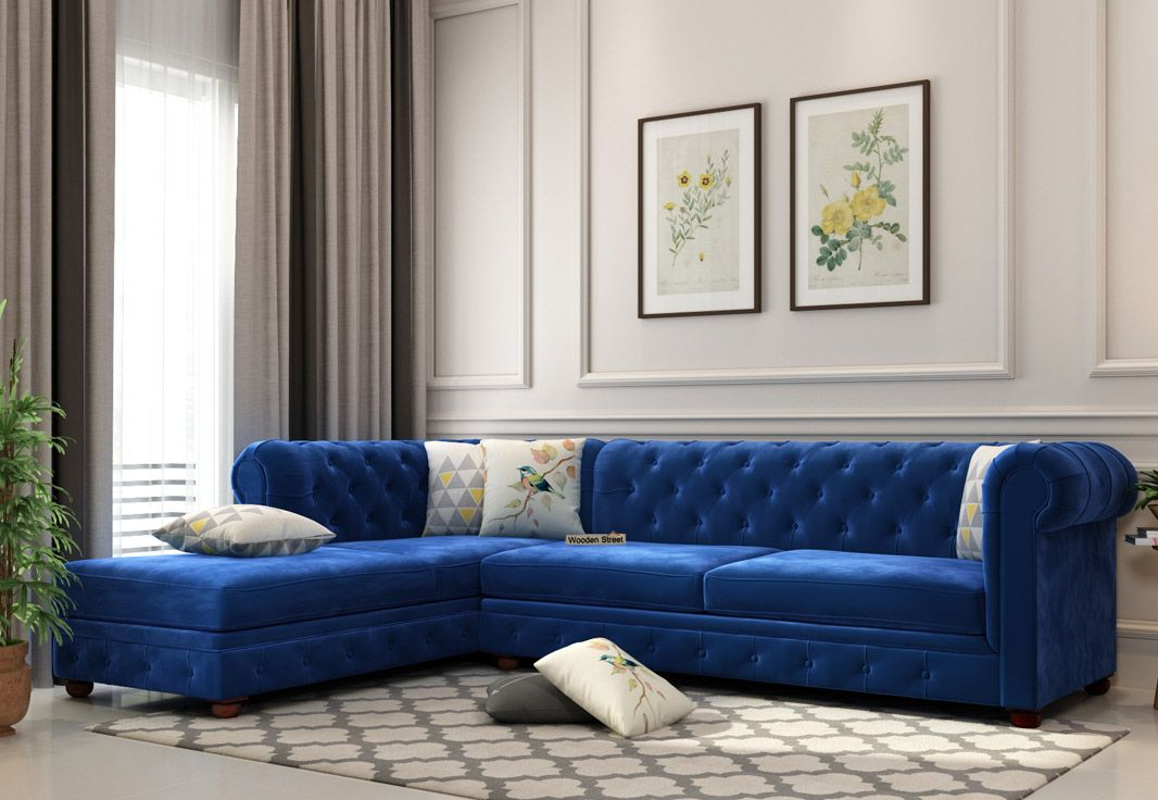 Buy Henry L Shape Left Aligned Corner Sofa Velvet Indigo Blue Online In India Get Woode In 2020 Living Room Sofa Design L Shaped Sofa Designs Latest Sofa Designs